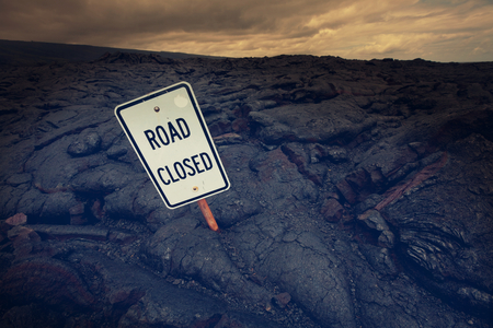 road closed: Road closed by lava in Hawaii island