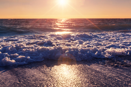 tropical beach: Scenic sunset at the sea coast