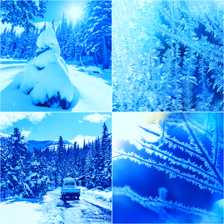 winter vacation: winter vacation collage Stock Photo