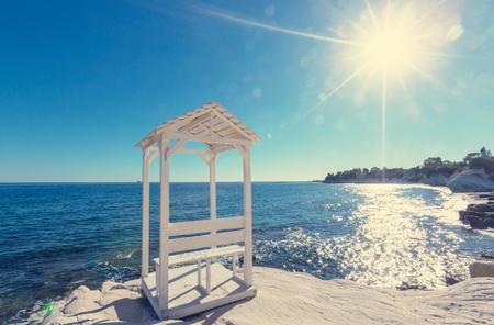 on shore: Beautiful sea shore in Cyprus Stock Photo