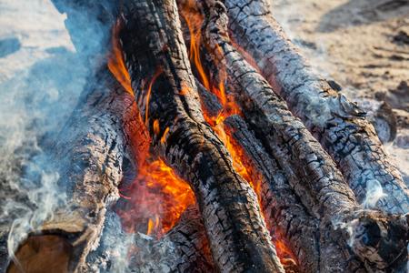 embers: Campfire, close up shot Stock Photo
