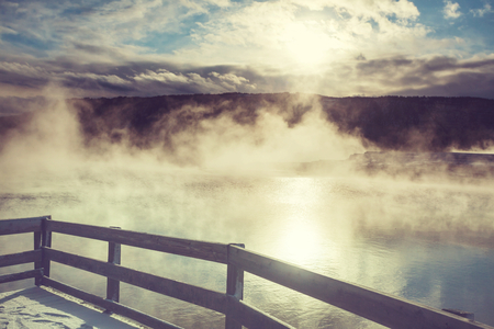 thermal spring: Mammoth Hot Springs in Yellowstone NP, USA
