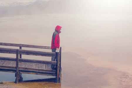 np: Man in Mammoth Hot Springs,Yellowstone NP