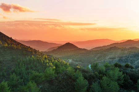 ridgeline: Scenic view of the mountains in Cyprus