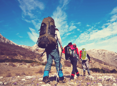 Hikers in  mountains photo