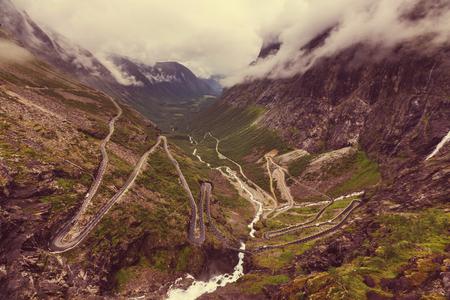 Trollstigen, Trolls Footpath, serpentine mountain road in Norway Stock Photo