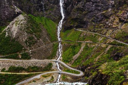 tortuous: Trollstigen, Trolls Footpath, serpentine mountain road in Norway Stock Photo