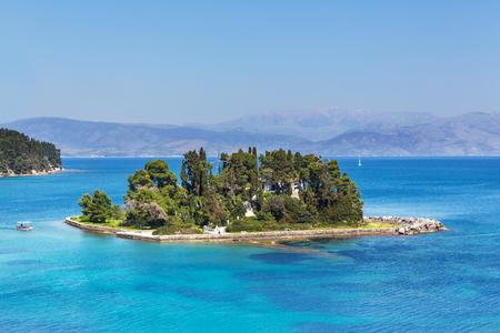 Mouse Island and the Vlacherna Monastery on the Kanoni peninsula of Corfu Reklamní fotografie
