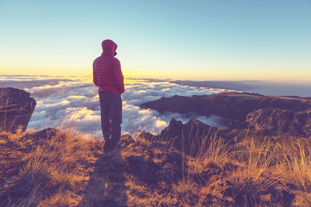 portugal: Pico Ruivo and Pico do Areeiro mountain peaks in  Madeira, Portugal Stock Photo