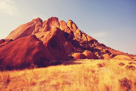 crack climb: Namibia landscapes Stock Photo