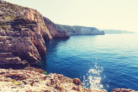 rocky coastline: Beautiful rocky coastline in Greece
