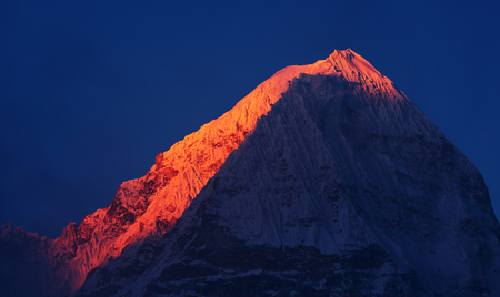 serene landscape: Scenic view of mountains, Kanchenjunga Region, Himalayas, Nepal. Stock Photo