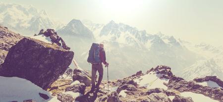 Hiker in Himalayas mountain. Nepal Stock Photo