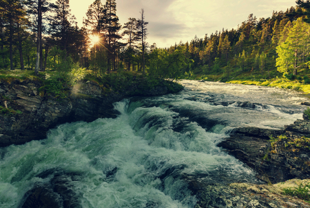 Rough mountain river in Norway Stock Photo