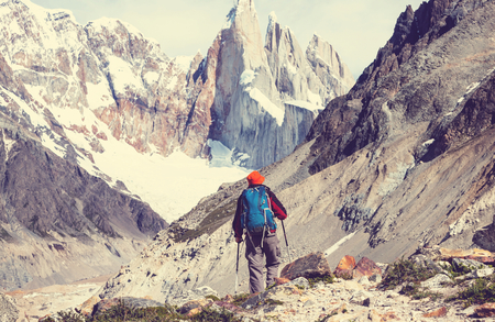 patagonian: Hike in the Patagonian mountains Stock Photo