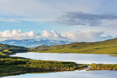 tundra: Tundra landscapes above Arctic circle Stock Photo