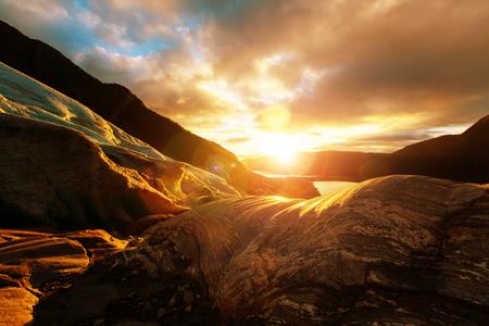 frigid: Svartisen Glacier landscape in Norway Stock Photo
