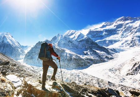 himalayas: Hiker in Himalayas mountain. Nepal Stock Photo