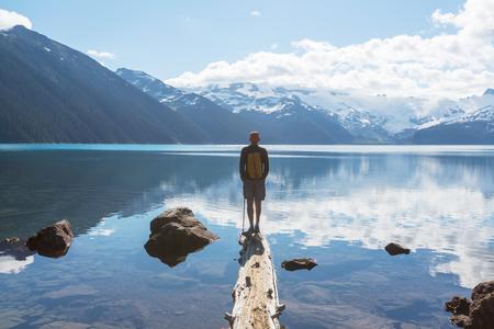 Wandeling over Garibaldi Lake in de buurt van Whistler, BC, Canada.