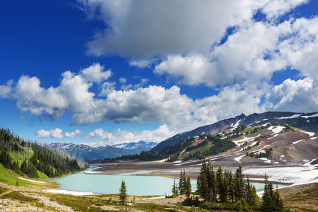 british columbia: Hike on Garibaldi Lake near Whistler, BC, Canada.