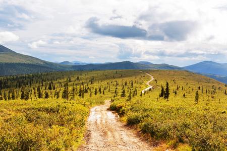 Tundra landscapes above Arctic circle Stock Photo