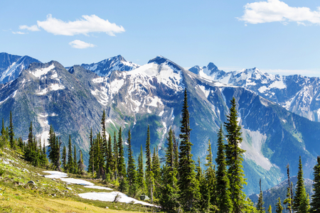 canadian rockies: Picturesque Canadian mountains in summer Stock Photo