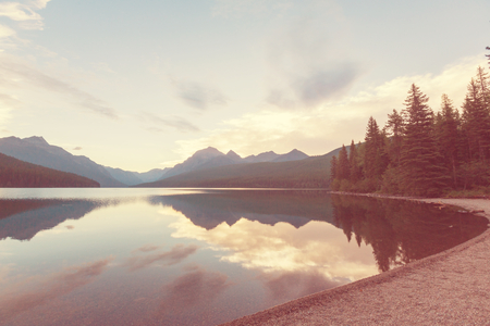 bowman: Beautiful Bowman lake with reflection of the spectacular mountains in Glacier National Park, Montana, USA. Stock Photo