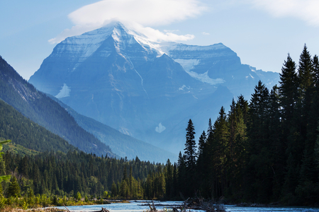 provincial forest parks: Grandiose Mount Robson - the highest peak of Canada in the morning in British Columbia