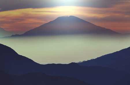vulcanology: Inspiring landscapes scene at sunrise in  Java, Indonesia.