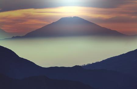 inspiring: Inspiring landscapes scene at sunrise in  Java, Indonesia.