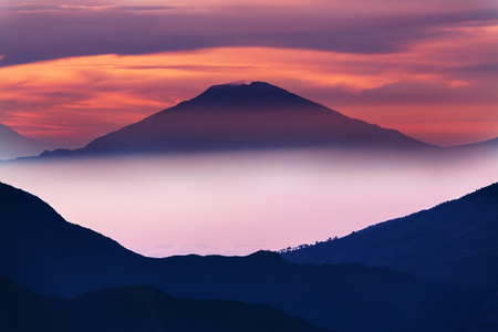 vulcanology: Inspiring volcanic landscape scene at sunrise in Java, Indonesia. Stock Photo