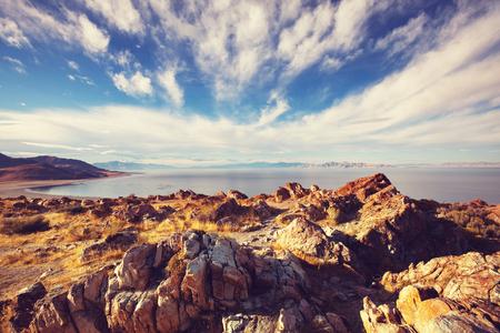sal: Vista panorámica de Great Salt Lake Foto de archivo