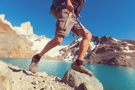 Hike in the Patagonian mountains Stock Photo