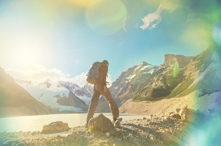 el chalten: Hike in the Patagonian mountains Stock Photo