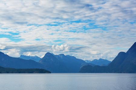 british columbia: Beautiful seascape along Pacific coast of British Columbia, Canada, with rocky shoreline. Stock Photo