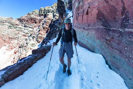 winter escape: Hike in Glacier National Park, Montana Stock Photo