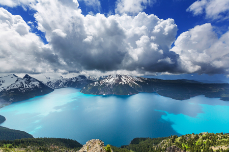 whistler: Hike to turquoise waters of picturesque Garibaldi Lake near Whistler, BC, Canada. Very popular hike destination in British Columbia. Stock Photo