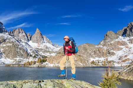 sierra nevada: Man with hiking equipment walking in Sierra Nevada  moutntains,California,USA