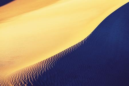 Beautiful sand dunes in desert at sunrise. Death Valley, Nevada, USA. Stock Photo