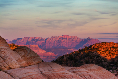 natural formation: Zion  National Park at sunrise. Utah, Usa Stock Photo