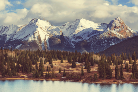 snowy mountains: Mountain Landscape in Colorado Rocky Mountains, Colorado, United States. Stock Photo
