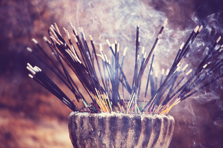 Traditional  incense stick at temple in Sri Lanka