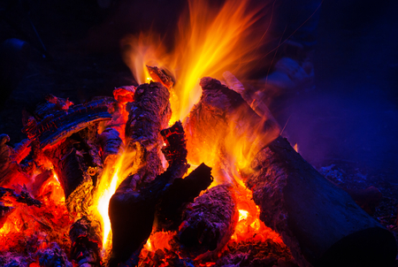 Campfire, close up shot Stock Photo
