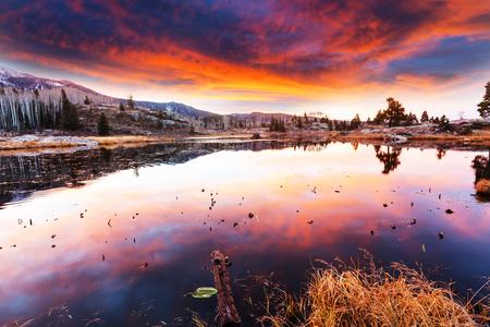 sunset lake: Sunset scene on the lake Stock Photo