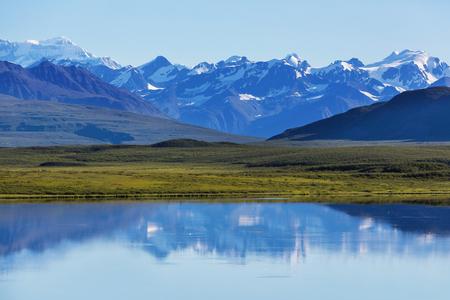 Serenity lake in tundra in Alaska Stock Photo