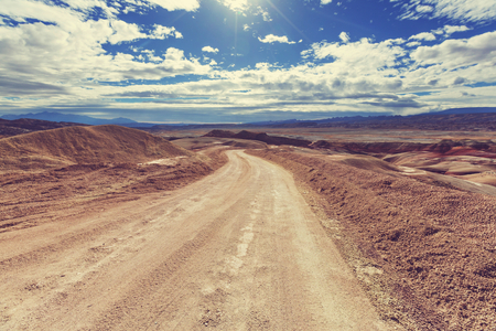 mountain landscape: Road in the prairie country Stock Photo