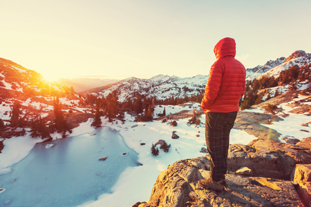 sierra nevada: Man with hiking equipment walking in Sierra Nevada  mountains,California,USA
