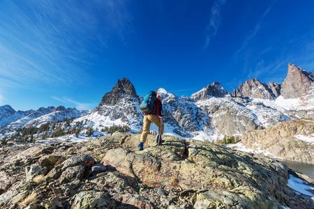 Man with hiking equipment walking in Sierra Nevada  mountains,California,USA