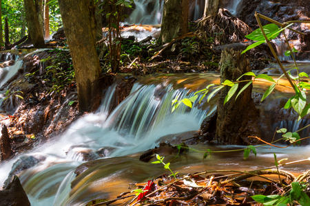 kanchanaburi: Beautiful waterfall in rainforest, Kanchanaburi province, Southeast asia, Thailand Stock Photo