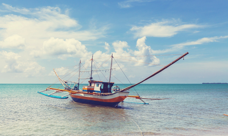 philippino: Traditional Philippino boat in the sea, Palawan island, Philippines